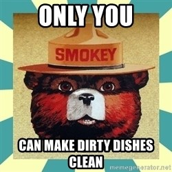 Smokey the Bear - ONLY YOU Can make dirty dishes clean