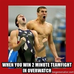 Ecstatic Michael Phelps - WHEN YOU WIN 2 MINUTE TEAMFIGHT in overwatch