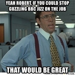 That would be great - yeah robert, if you could stop guzzling bbc jizz on the job that would be great