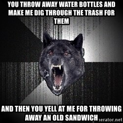 Insanity Wolf - You throw away water bottles and make me dig through the trash for them and then you yell at me for throwing away an old sandwich