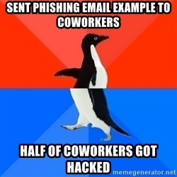 Socially Awesome Awkward Penguin - Sent phishing email example to coworkers half of coworkers got hacked
