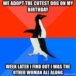 Socially Awesome Awkward Penguin - we adopt the cutest dog on my birthday week later I find out I was the other woman all along