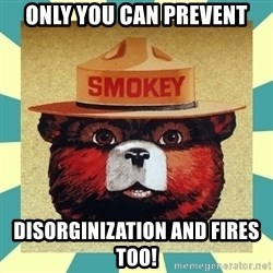 Smokey the Bear - Only you can prevent disorginization and fires too!