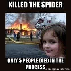 burning house girl - Killed the spider Only 5 people dieD in the prOcess