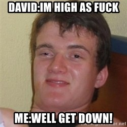 Really Stoned Guy - David:Im high as fuck Me:Well get down!