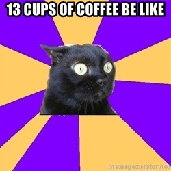 Anxiety Cat - 13 cups of coffee be like