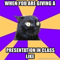 Anxiety Cat - when you are giving a  presentation in class like