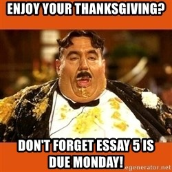 Fat Guy - enjoy your thanksgiving? don't forget essay 5 is           due monday!