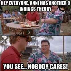See? Nobody Cares - Hey Everyone, Anni has another 9 innings theory  You see... NOBody cares!