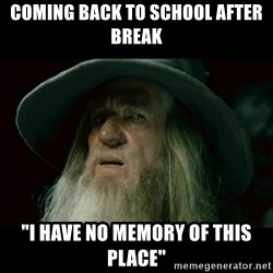 "no memory gandalf - Coming back to school after break ""I have no Memory of this place"""