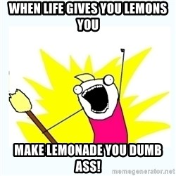 All the things - When life gives you lemons you MAKE lemonade you dumb ass!