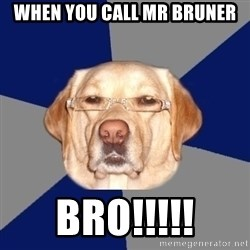 Racist Dawg - when you call mr bruner BRO!!!!!