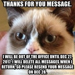 Angry Cat Meme - Thanks for you message. I will be out of the office until Dec 27, 2017. I will delete all messages when I return, so please resend your message on Dec 28.