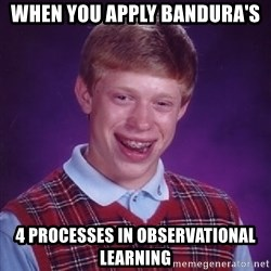 Bad Luck Brian - When You apply Bandura's 4 Processes in observational Learning