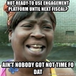 Ain't nobody got time fo dat so - not ready to use engagement platform until next fiscal? Ain't nobody got not time fo dat