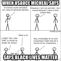 Memes - WHEN VSAUCE MICHEAL SAYS Says Black Lives matter