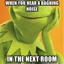 Kermit the frog - when you hear a bagning noise in the next room