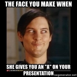 """Tobey_Maguire - the face you make when she gives you an """"a"""" on your presentation"""