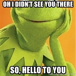 Kermit the frog - oh i didn't see you there so, hello to you