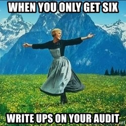 Look at all the things - when you only get six  write ups on your audit