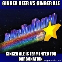The more you know - Ginger beer vs ginger ale Ginger ale is fermented for carbonation.