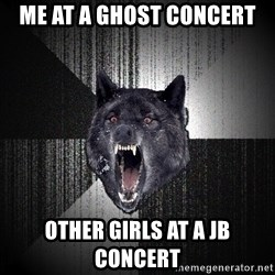Insanity Wolf - me at a ghost concert other girls at a jb concert