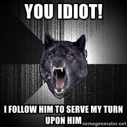 Insanity Wolf - You idiot! I follow him to serve my turn upon him