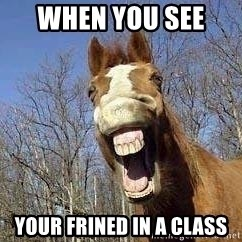 Horse - when you see  your frined in a class