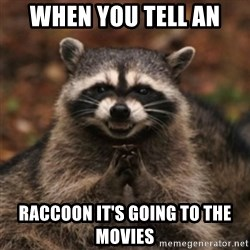 evil raccoon - when you tell an  raccoon it's going to the movies
