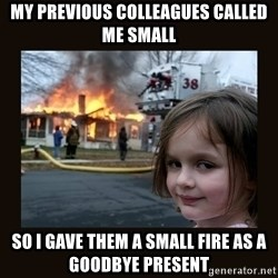 burning house girl - my previous colleagues called me small so i gave them a small fire as a goodbye present