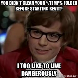 Austin Power - you didn't clear your %temp% folder before starting revit? i too like to live dangerously
