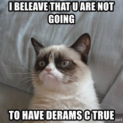 Grumpy cat 5 - I bEleave that u are not going  To have derams c true