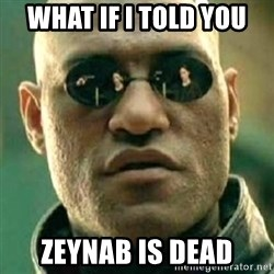 what if i told you matri - what if i told you zeynab is dead