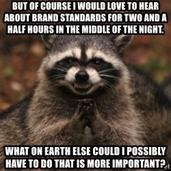 evil raccoon - But of course i would love to hear about brand standards for two and a half hours in the middle of the night. What on earth else could i possibly have to do that is more important?