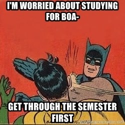 batman slap robin - i'm worried about studying for boa- Get through the semester first