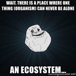 Forever Alone - wait. there is a place where one thing (organism) can never be alone an ecosystem...