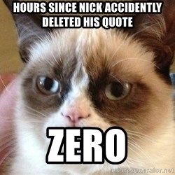 Angry Cat Meme - Hours since Nick Accidently deleted his quote Zero