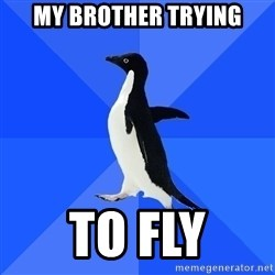 Socially Awkward Penguin - my brother trying to fly