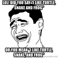 """Asian Troll Face - lol! Did you say """"I like turtle, snake and frog"""" or you mean """"i like turtle, snake, and frog"""""""