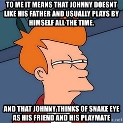 Futurama Fry - To me it means that Johnny doesnt like his father and usually plays by himself all the time. And that Johnny thinks of Snake eye as his friend and his playmate