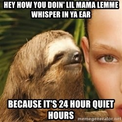 Whisper Sloth - Hey how you doin' lil mama lemme whisper in ya ear Because it's 24 hour quiet hours