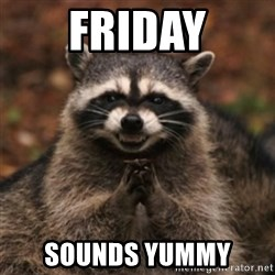 evil raccoon - Friday sounds yummy