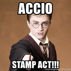 Harry Potter spell - accio stamp act!!!