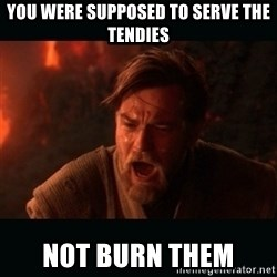 "Obi Wan Kenobi ""You were my brother!"" - You were supposed to serve the tendies not burn them"
