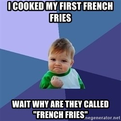 """Success Kid - I cooked my first french fries wait why are they called """"french fries"""""""