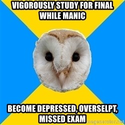 Bipolar Owl - vigorously study for final while manic Become depressed, overselpt, missed exam