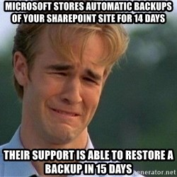 Crying Man - Microsoft stores automatic backups of your sharepoint site for 14 days Their support is able to restore a backup in 15 days