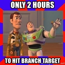 Everywhere - ONLY 2 HOURS  TO HIT BRANCH TARGET