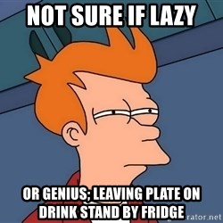 Futurama Fry - Not sure if lazy or genius; leaving plate on drink stand by fridge