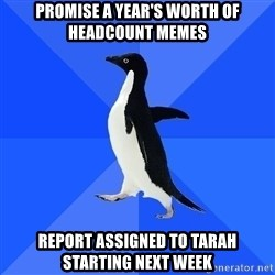 Socially Awkward Penguin - Promise a Year's worth of headcount memes report assigned to tarah starting next week